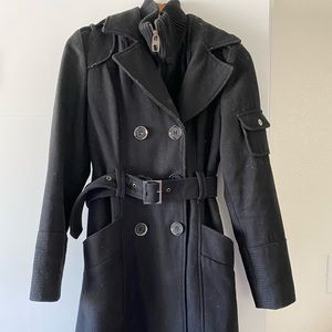 Miss Sixty Belted Black Wool Pea Coat Size M